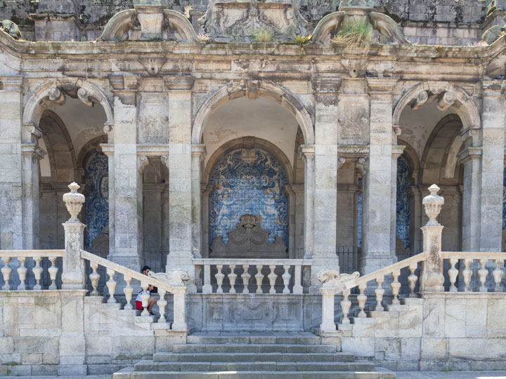 Side steps of Porto Cathedral with azulejo tiles