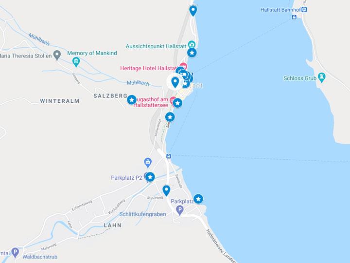 Google Maps snapshot of Hallstatt day trip itinerary map
