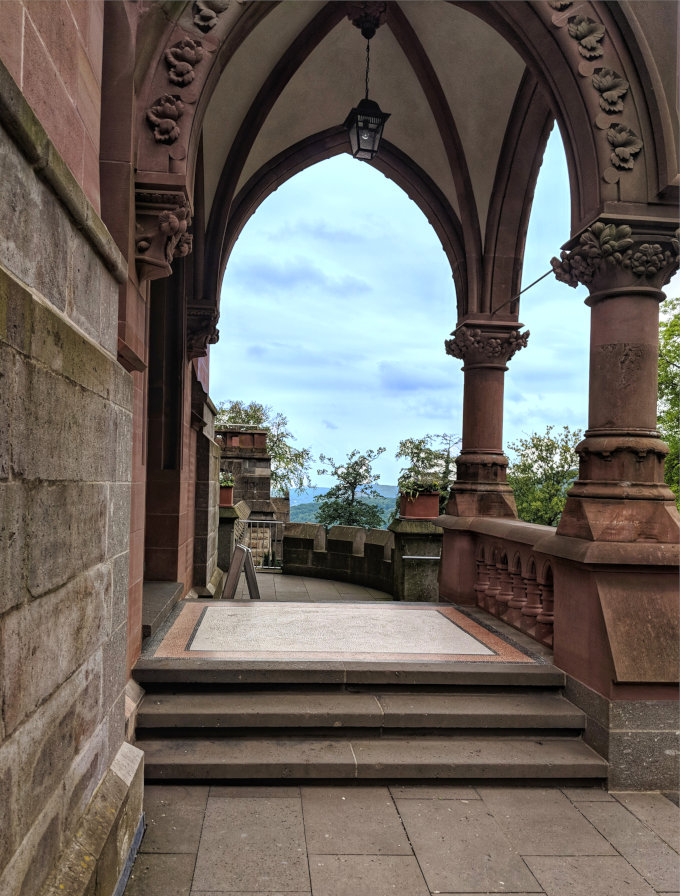 Castle arches and view at Schloss Drachenburg in the town of Konigswinter.