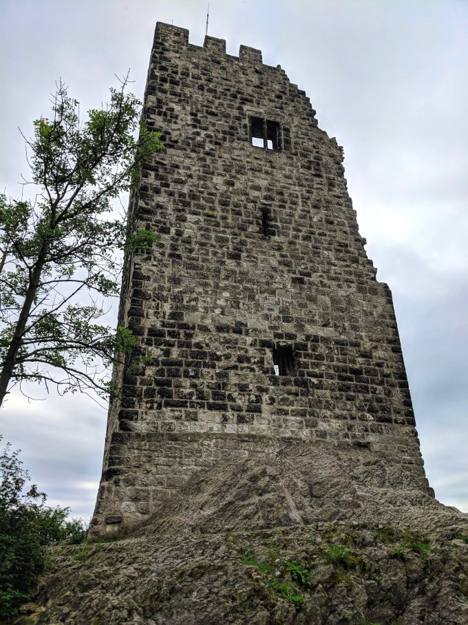 Burg Drachenfels sits atop the hill. This ruin is all that remains of the original 12th century castle.