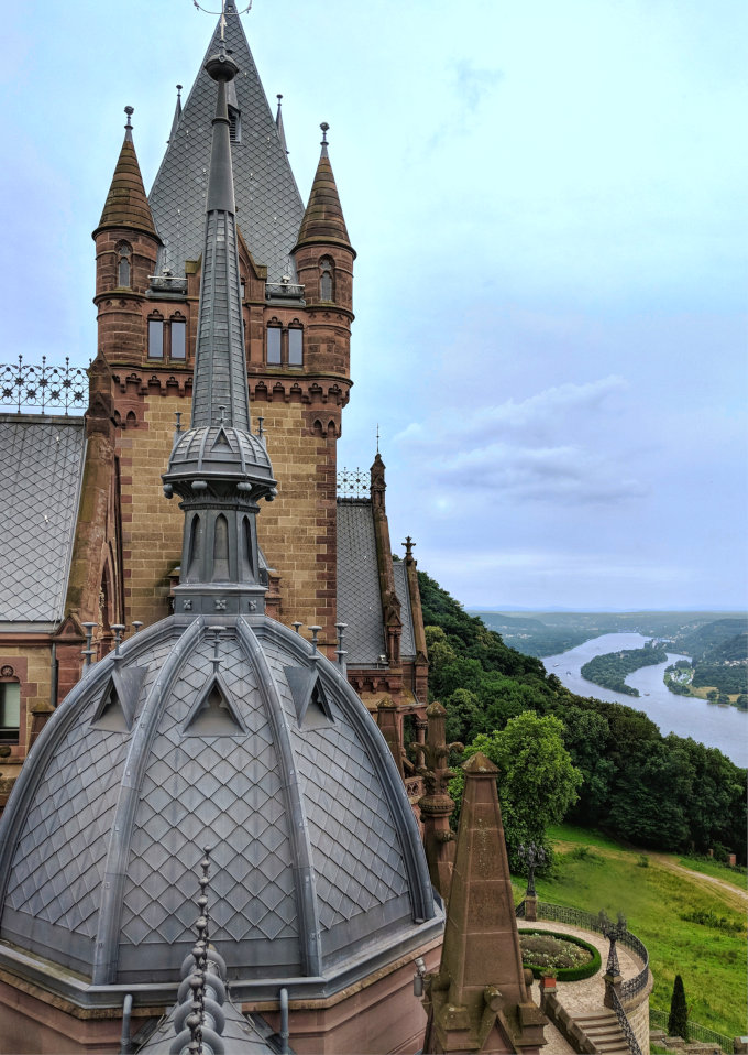 A view from the top of Schloss Drachenburg, a castle above the village of Konigswinter.