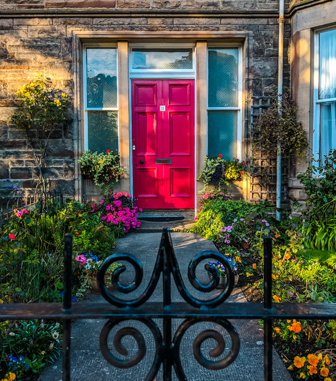 Beautiful town cottage door in North Berwick Scotland