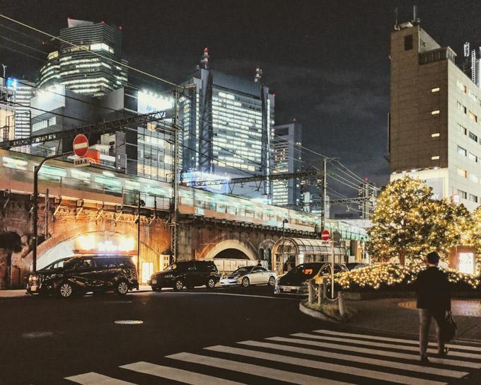 Tokyo at night crosswalk