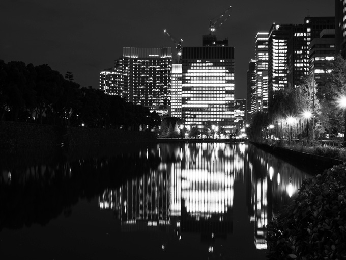 View of Tokyo skyline at night from Hibiya Park