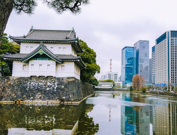 View of Tokyo Imperial Palace and city skyline