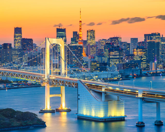 Sunset at Rainbow Bridge Tokyo, the perfect way to end 6 days in Tokyo