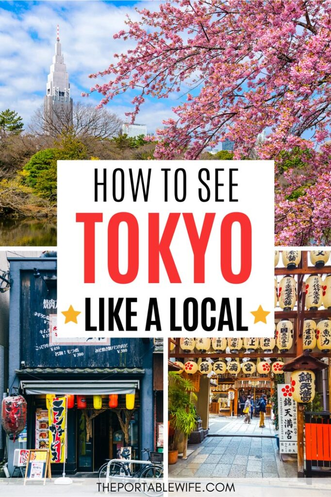 How to See Tokyo Like a Local - collage of cherry blossom park, blue cafe front, and paper lanterns in alley