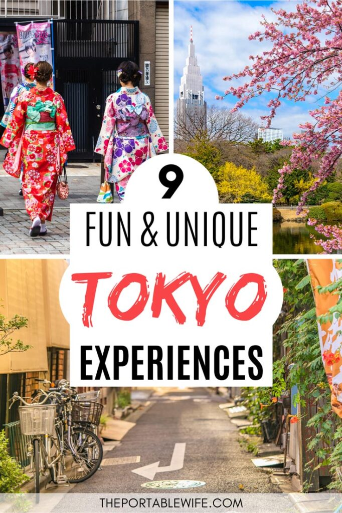 9 Fun and Unique Tokyo Experiences - collage of women in yukata, cherry blossoms, and empty alley with bike