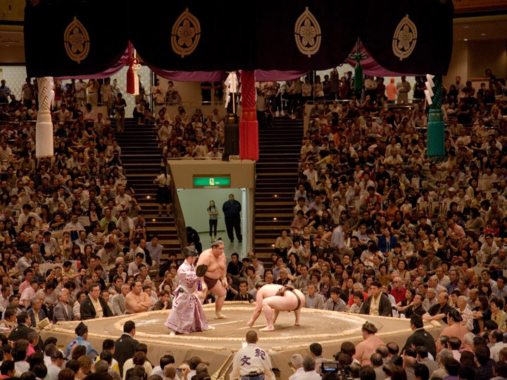Sumo match with packed crowd in Tokyo
