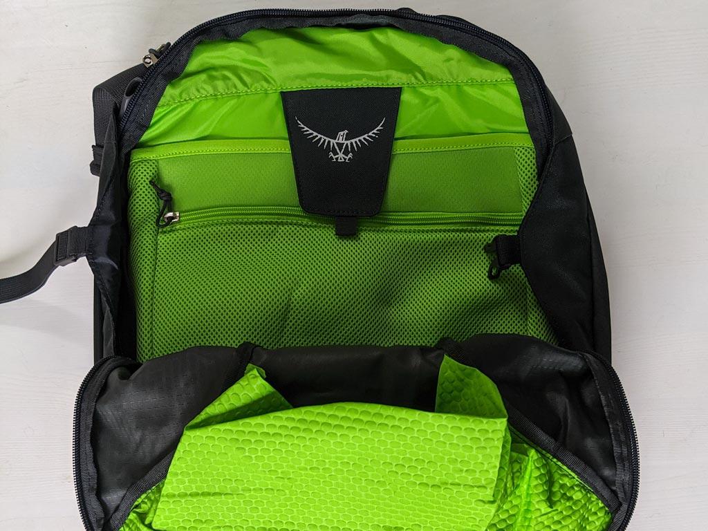 Green interior of Osprey Farpoint 40 front pocket.
