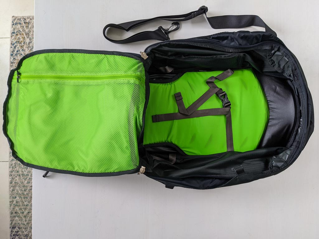 Green interior of Osprey Farpoint 40 backpack.