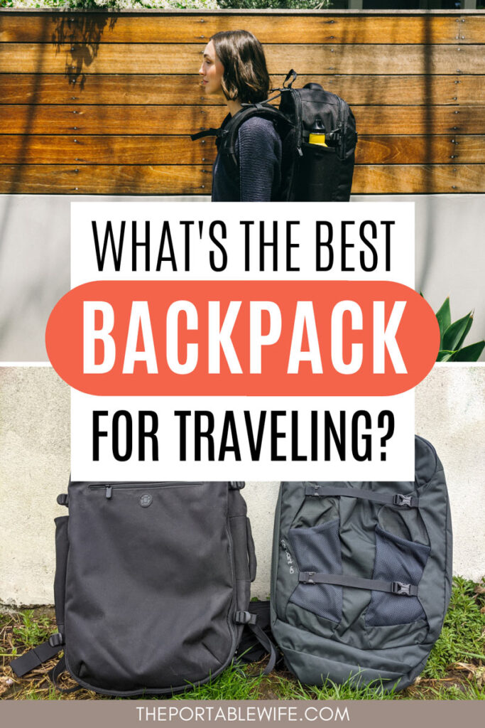 """Collage of woman wearing large backpack, and Osprey Farpoint vs Tortuga Setout frontal view, with text overlay - """"what's the best backpack for traveling?""""."""