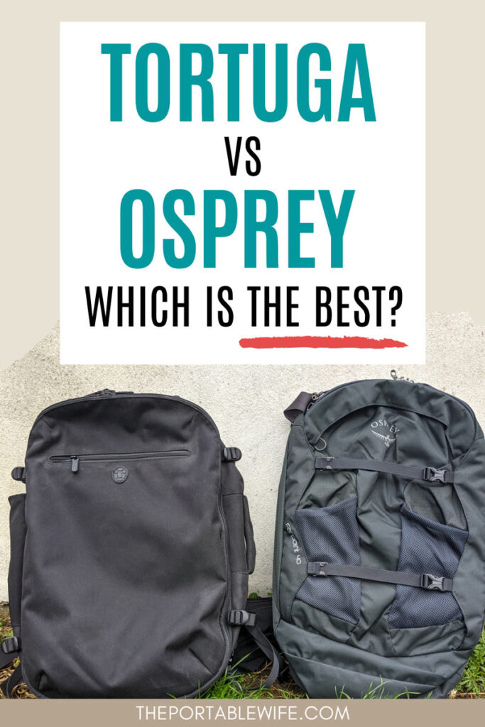 """Side by side frontal view of Tortuga Setout vs Osprey Farpoint, with text overlay - """"Tortuga vs Osprey: which is the best?"""""""