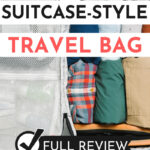 """Tortuga Setout interior with packed clothes, with text overlay - """"the best suitcase style travel bag: full review""""."""