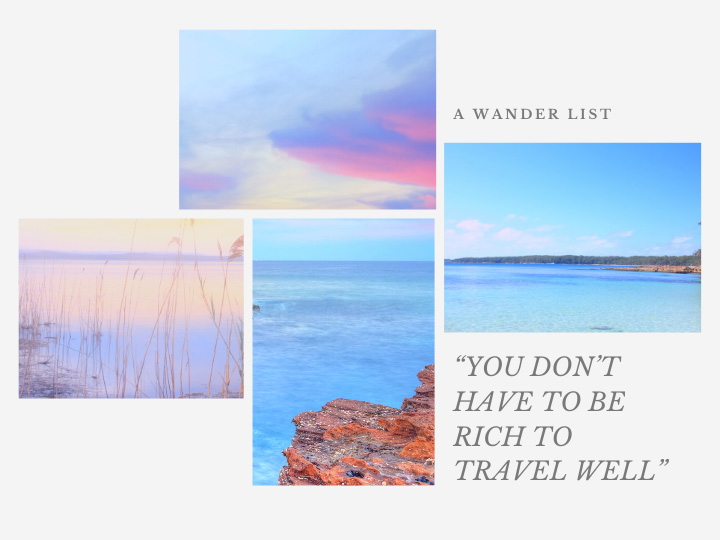 "Travel vision board layout with pastel beach photos and quote - ""you don't have to be rich to travel well""."
