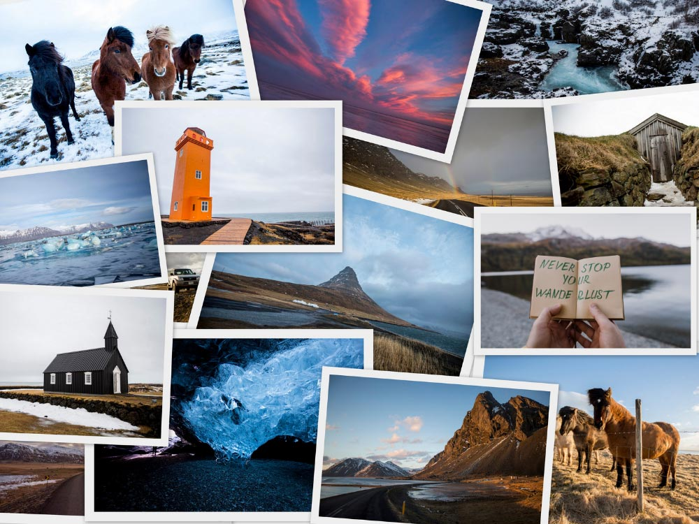 Collage of printed Iceland travel photos pinned to travel vision board