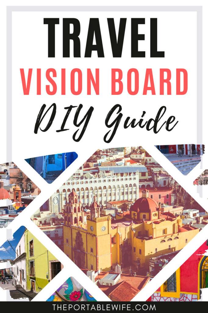 "Collage of Europe travel photos, with text overlay - ""Travel vision board DIY guide""."