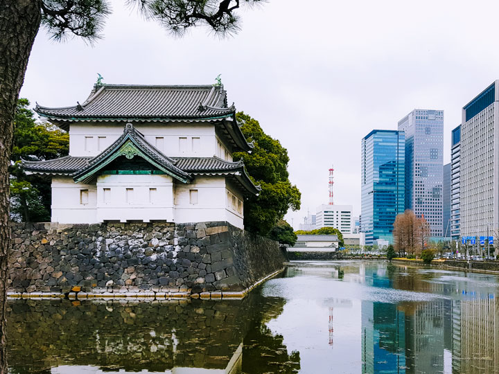 Tokyo Imperial Palace with view of pond and skyscrapers, a popular destination for Japan solo travel