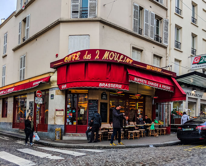 Cafe des 2 Moulins, made famous by the film Amelie. It's still a great place for a typical French breakfast.
