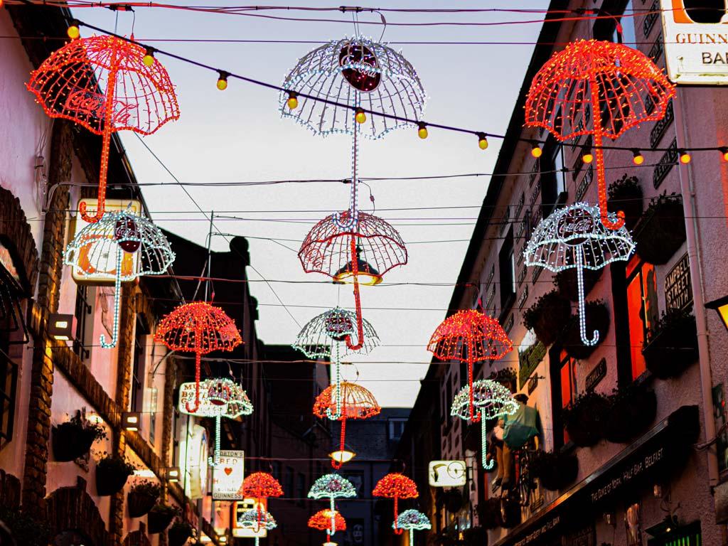 Illuminated umbrella lights over Belfast Umbrella Street.