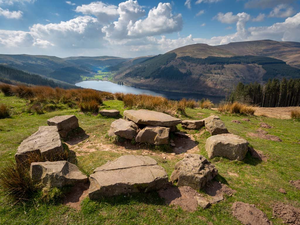 Panoramic view over Brecon Beacons hills and lake.