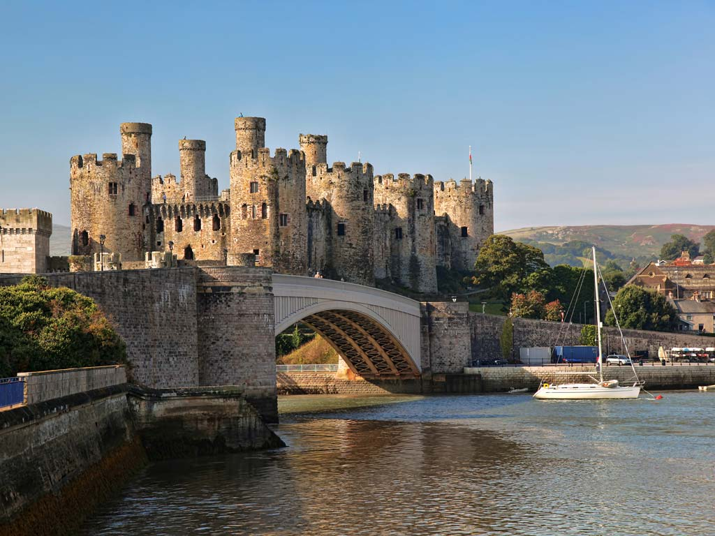 View of Conwy Castle from across waterfront.