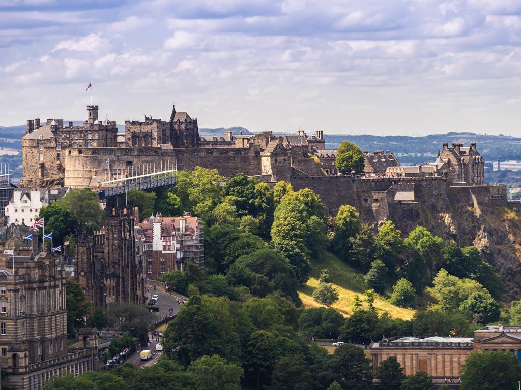 Aerial view of Edinburgh Castle.