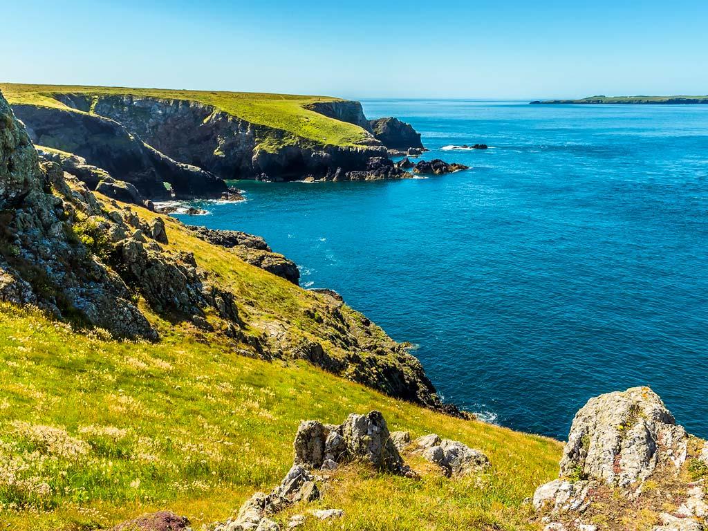 Coastal hills and cliffs of Pembrokeshire National Park.
