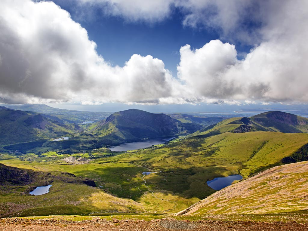 Panoramic view of hills and lakes of Snowdonia in Wales.