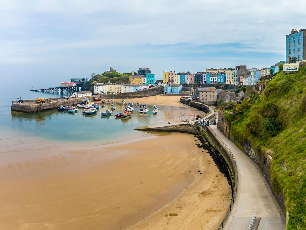 View of Tenby town center with harbour in foreground.