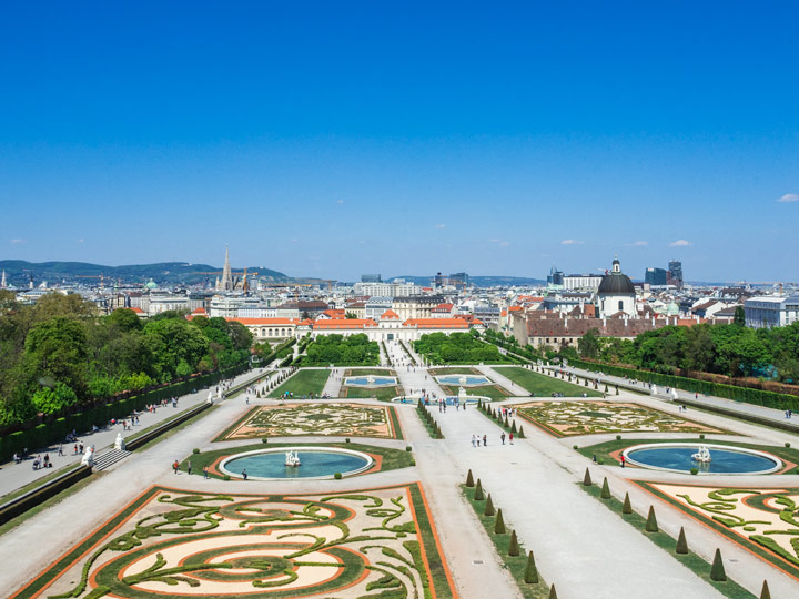 View over Belvedere garden walking path, a must for 2 days in Vienna