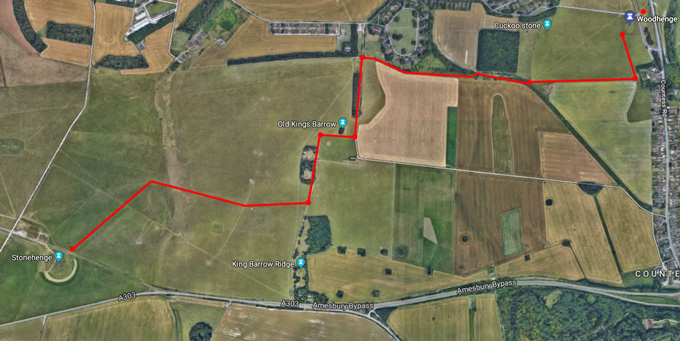 A satellite view of the route to walk from Woodhenge to Stonehenge