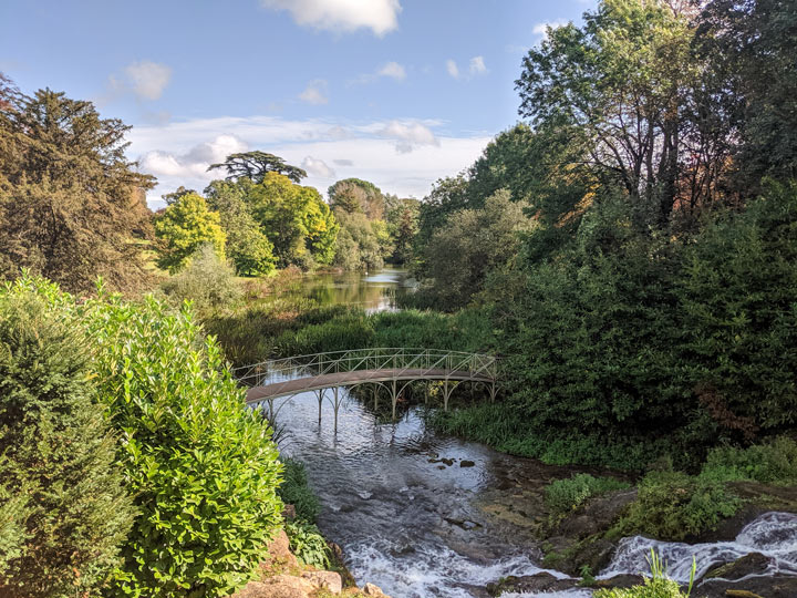 Blenheim Palace gardens cascades with bridge and falls