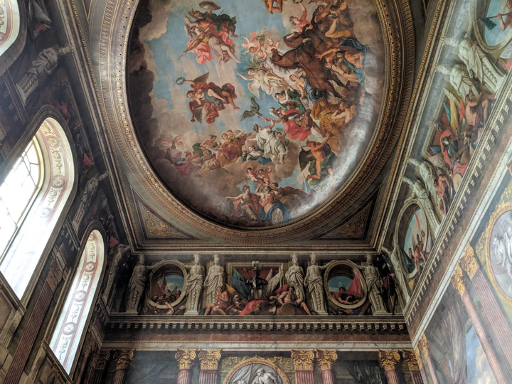 Blenheim Palace Great Hall ceiling mural of biblical scene