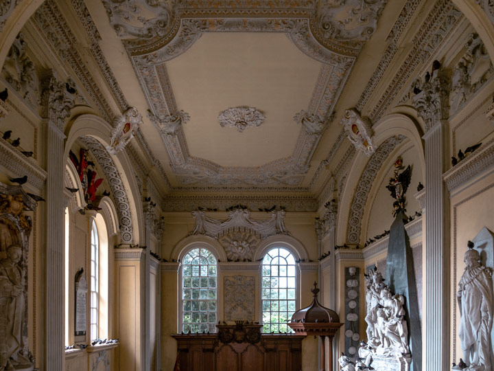 Blenheim Palace chapel with view of windows and Duke of Marlborough tomb