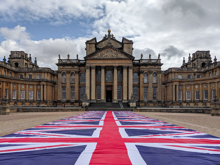Blenheim Palace courtyard with Maurizio Cattelan England flag runner leading to main entrance