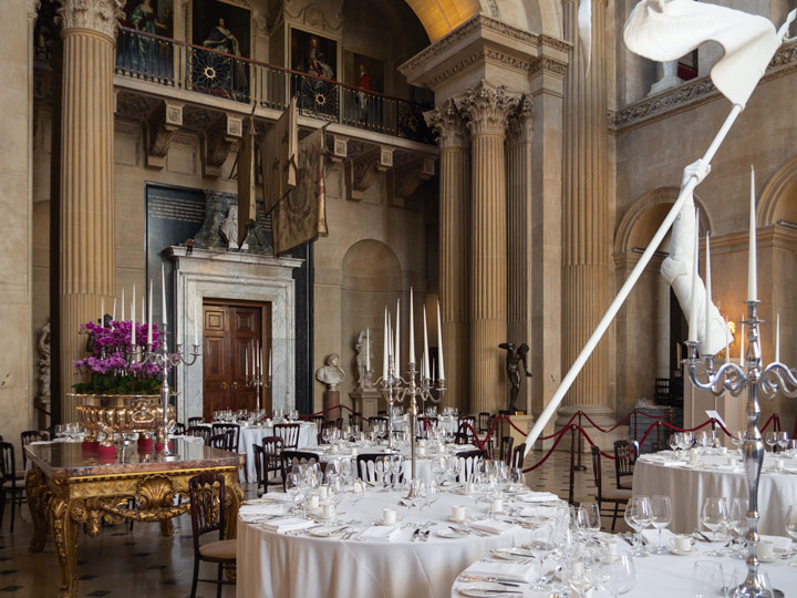 Blenheim Palace Great Hall set with tables for a wedding