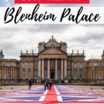 How to take a day trip to Blenheim Palace - courtyard view of palace with UK flag runner