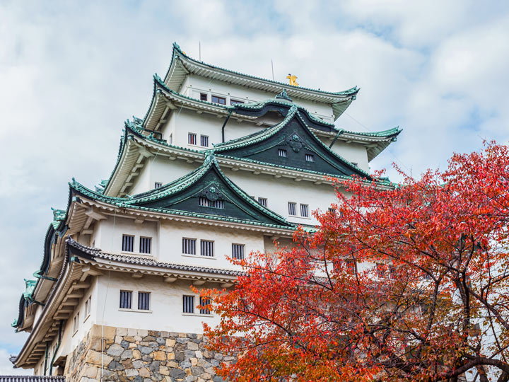 Nagoya Castle with red tree and partly cloudy sky view