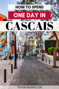 How to spend one day in Cascais: day trip guide - street with purple flowers and mural