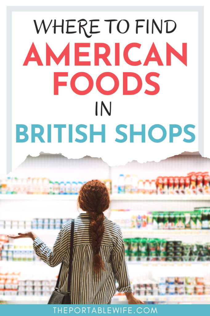 """Woman shopping for milk, with text overlay - """"Where to buy American foods in British shops""""."""