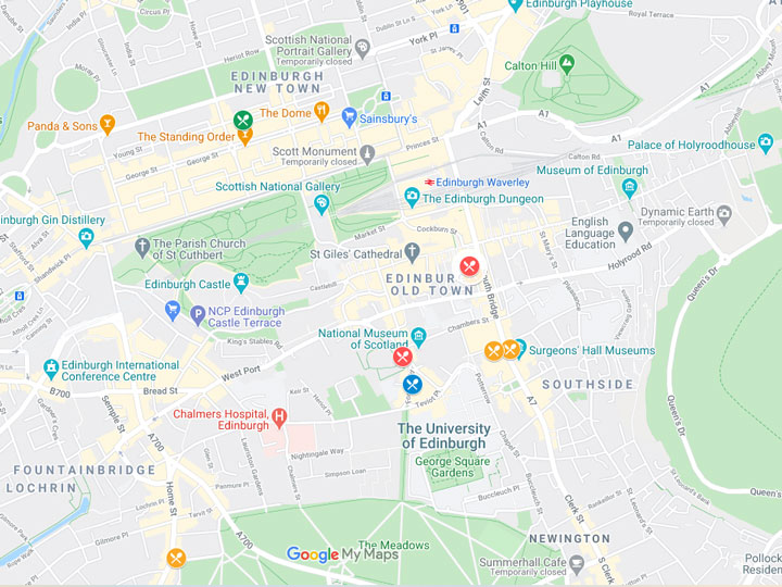 Google Maps snapshot of where to eat in Edinburgh map
